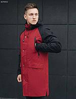 Чоловіча парка/ Мужская удлиненная куртка, парка стафф Staff me gray bordo BZP0052