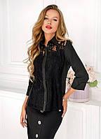 Блуза женская с гипюром - Черный