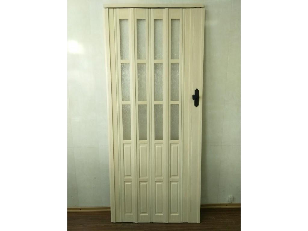 Дверь гармошка межкомнатная полуостекленная, кедр 911, 860х2030х10мм