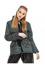 Женская демисезонная куртка-парка Залина изумрудный (44-54)