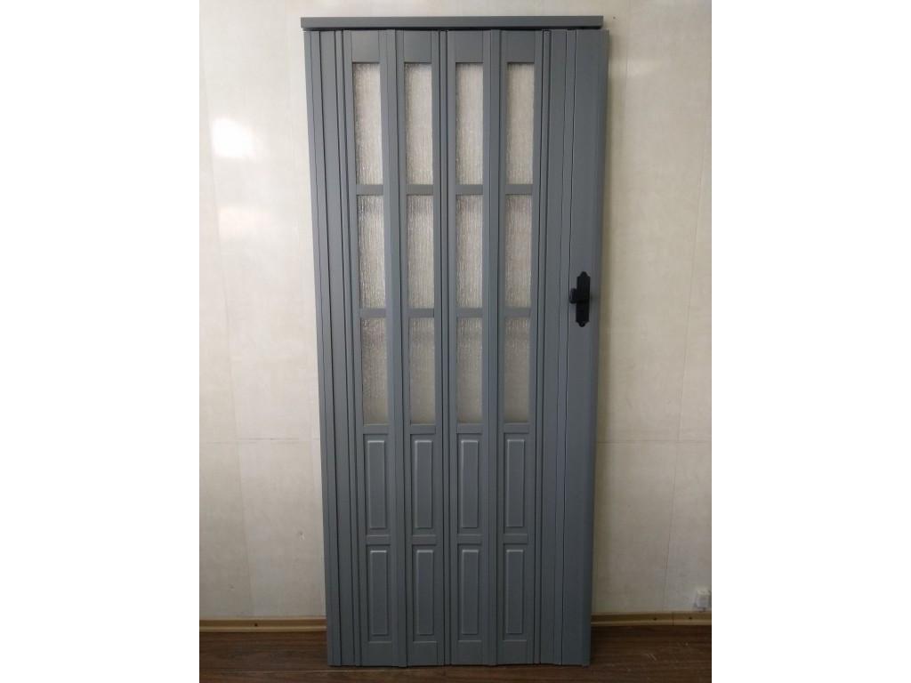 Дверь гармошка межкомнатная полуостекленная, серый 915, 860х2030х10мм