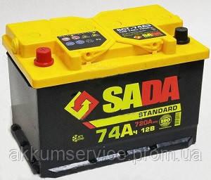 Аккумулятор автомобильный SADA Standart 74AH R+ 720A