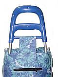 Тачка сумка с колесиками кравчучка 96см MH-1900 синие цветы, фото 5