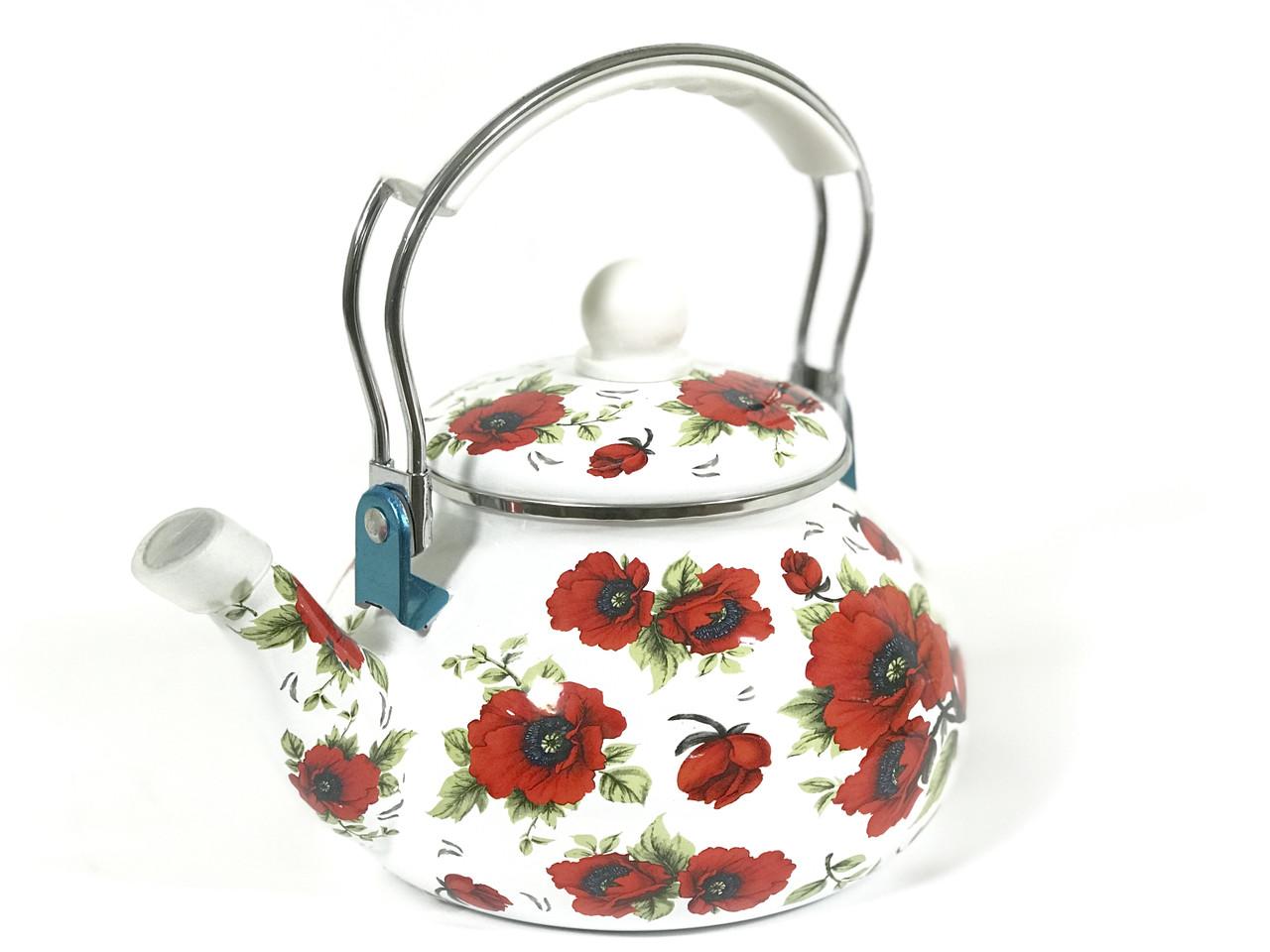 Эмалированный чайник Hoffner 4935 Red flowers 2,5 литра c бакелит ручкой
