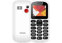 Телефон кнопочный для пожилых людей на 2 сим карты с фонариком Nomi i187 белый