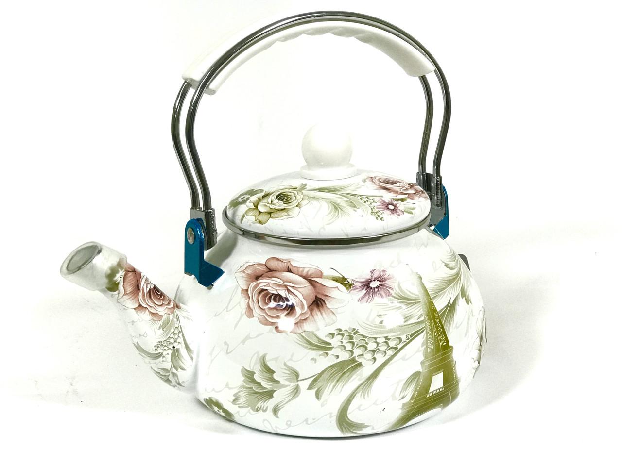 Эмалированный чайник Hoffner 4935 Paris flowers 2,5 литра c бакелит ручкой