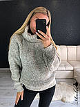 Женский  теплый вязаный свитер-хомут под горло объемного фасона (в расцветках), фото 2