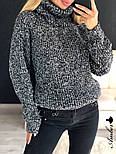 Женский  теплый вязаный свитер-хомут под горло объемного фасона (в расцветках), фото 10