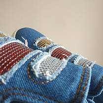 Джинсовые мокасины слипоны балетки кеды с пайетками стразами цветные мягкие летние тканевые, фото 2