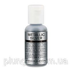 Сяючий харчовий барвник для аерографа Chefmaster Metallic silver / Срібний металік