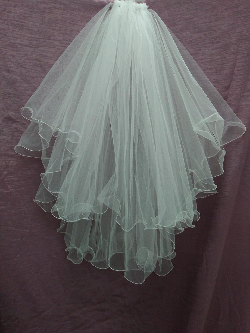 Свадебная фата белая с опиковкой
