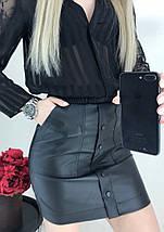 """Кожаная мини юбка """"Santana"""", фото 2"""