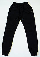 Котоновые черные  брюки -джогеры на мальчика рост 134-152 см, фото 1