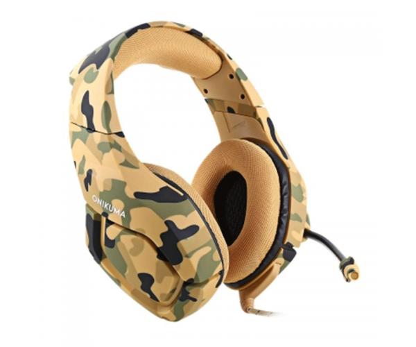Ігрові навушники ONIKUMA K1-B з мікрофоном, жовтий камуфляж