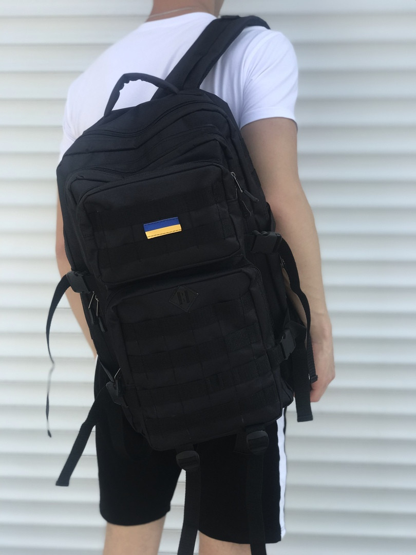 Рюкзак мужской большой для походов 45л. 600D (черный)