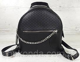 111-1 Натуральная кожа Городской рюкзак Кожаный рюкзак Из натуральной кожи Рюкзак женский черный рюкзак черный, фото 3