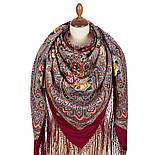 Осенние колокола 1845-6, павлопосадский платок (шаль) из уплотненной шерсти с шелковой вязаной бахромой, фото 2