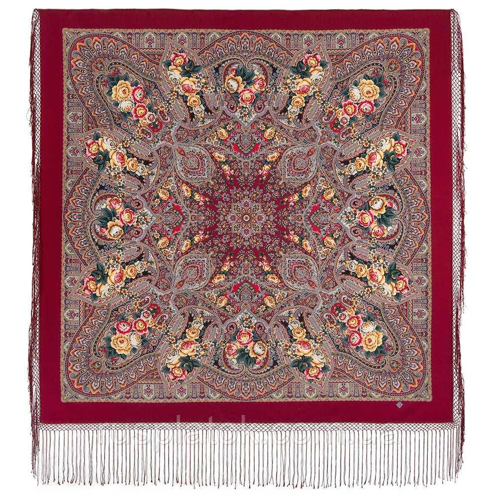 Осенние колокола 1845-6, павлопосадский платок (шаль) из уплотненной шерсти с шелковой вязаной бахромой