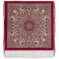 Осенние колокола 1845-6, павлопосадский платок (шаль) из уплотненной шерсти с шелковой вязаной бахромой, фото 1