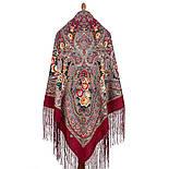 Осенние колокола 1845-6, павлопосадский платок (шаль) из уплотненной шерсти с шелковой вязаной бахромой, фото 3