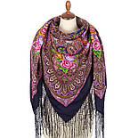 Осенние колокола 1845-14, павлопосадский платок (шаль) из уплотненной шерсти с шелковой вязаной бахромой, фото 3