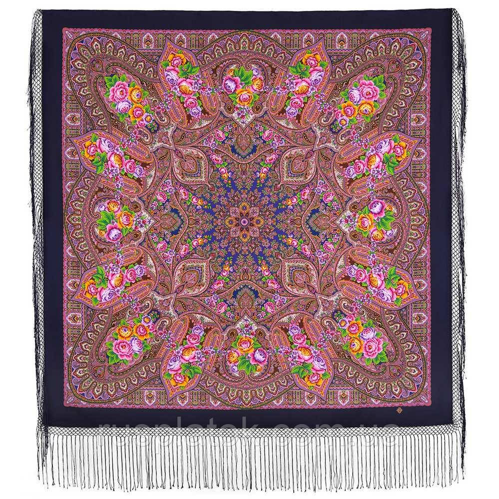 Осенние колокола 1845-14, павлопосадский платок (шаль) из уплотненной шерсти с шелковой вязаной бахромой