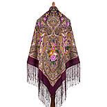 Осенние колокола 1845-8, павлопосадский платок (шаль) из уплотненной шерсти с шелковой вязаной бахромой, фото 2