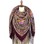Осенние колокола 1845-8, павлопосадский платок (шаль) из уплотненной шерсти с шелковой вязаной бахромой, фото 3