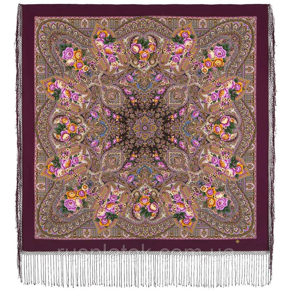 Осенние колокола 1845-8, павлопосадский платок (шаль) из уплотненной шерсти с шелковой вязаной бахромой