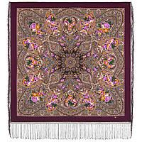 Осенние колокола 1845-8, павлопосадский платок (шаль) из уплотненной шерсти с шелковой вязаной бахромой, фото 1