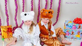 Детский новогодний костюм белый и коричневый Мишка