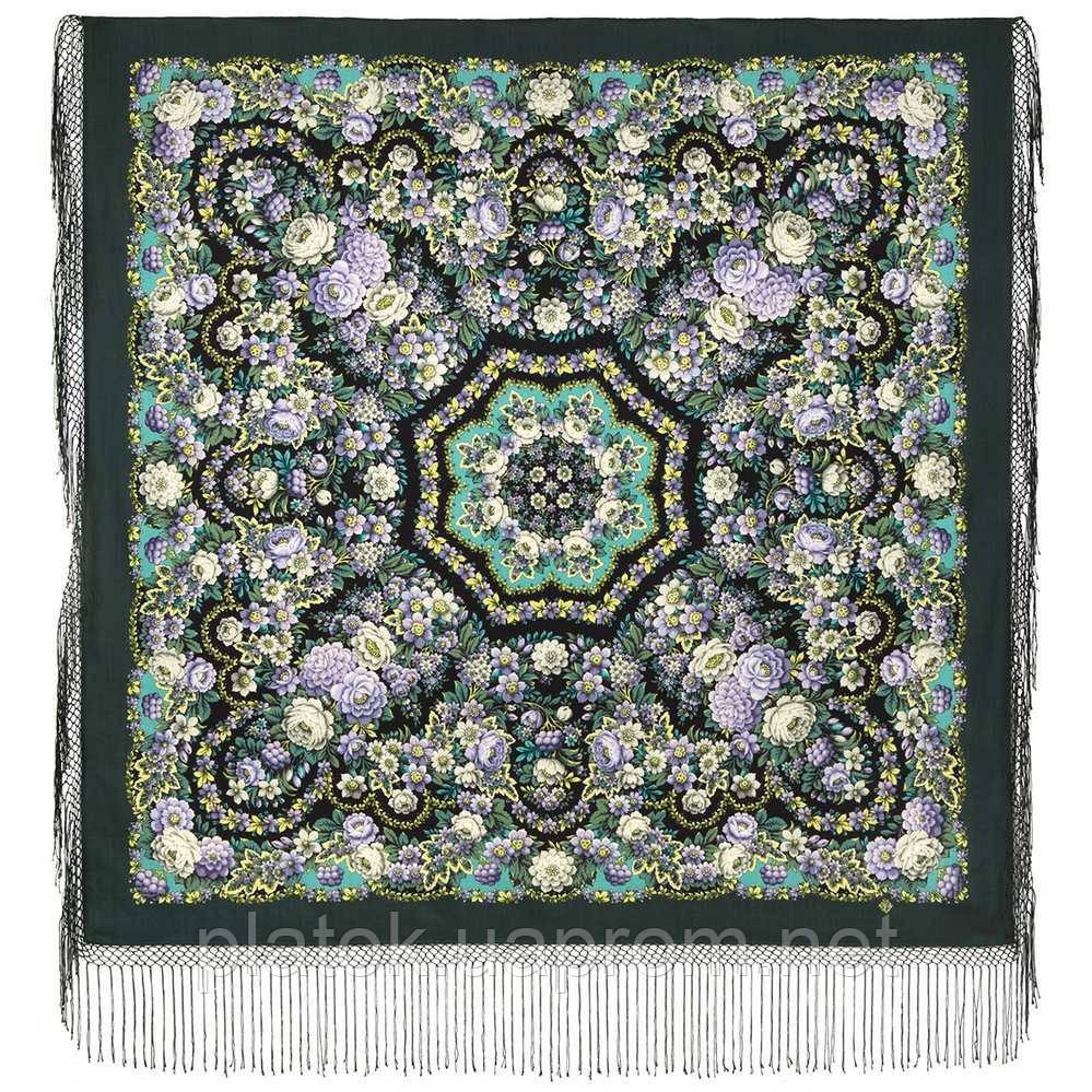 Павловопосадский 1816-9, павлопосадский платок (шаль) из уплотненной шерсти с шелковой вязанной бахромой