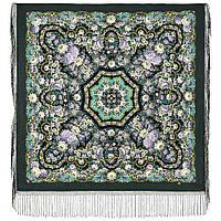 Павловопосадский 1816-9, павлопосадский платок (шаль) из уплотненной шерсти с шелковой вязанной бахромой, фото 1