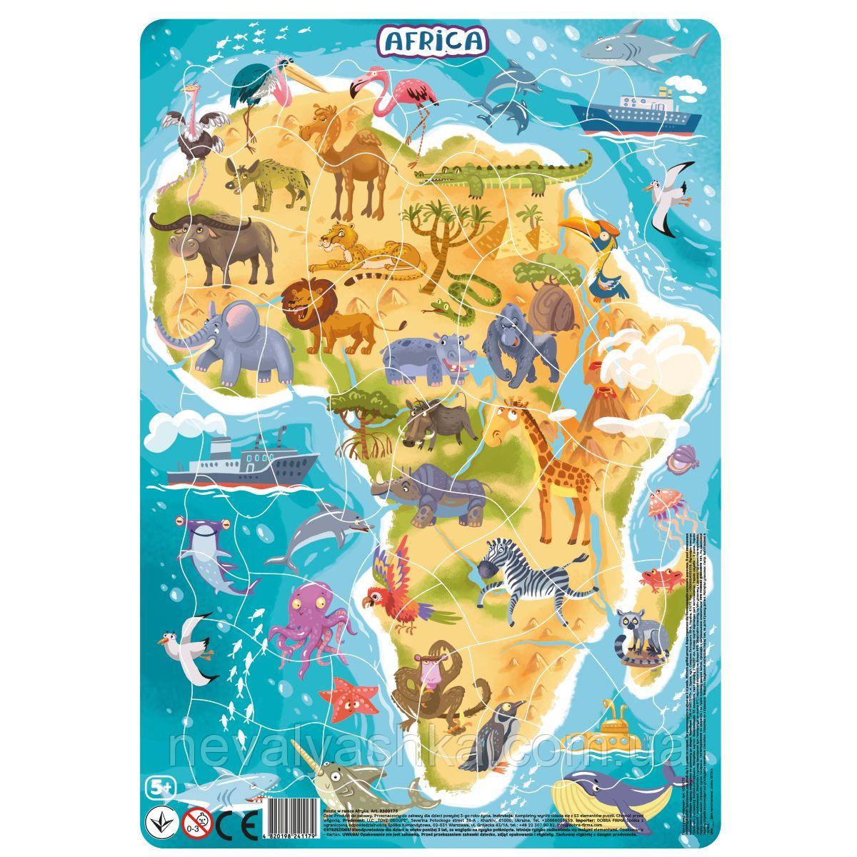 Пазл з Рамкою Африка 30 см Пазл з рамкою 53 ел Пазли в Рамці Додо DoDo 300175 011274