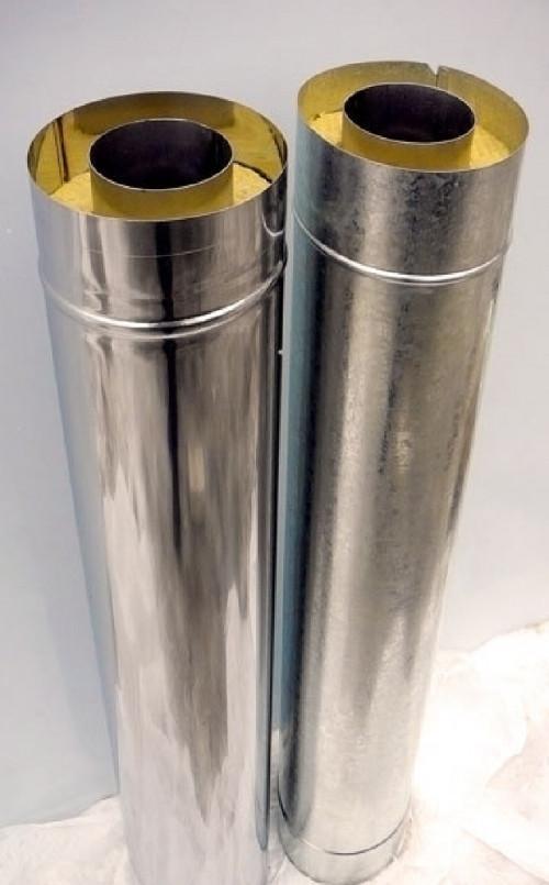 Труба димоходу ø180|250 утеплена 0,5 мм з нержавійки 201 L=1 м оцинкованом кожусі