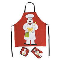 Текстильный кухонный набор XOPC-M «Добра господиня»: фартук+прихватка+рукавица