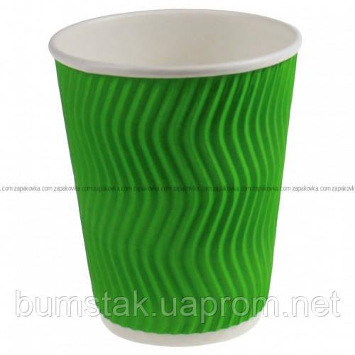 Бумажный стаканчик RIPPLE 175 мл зелёный / 20 шт