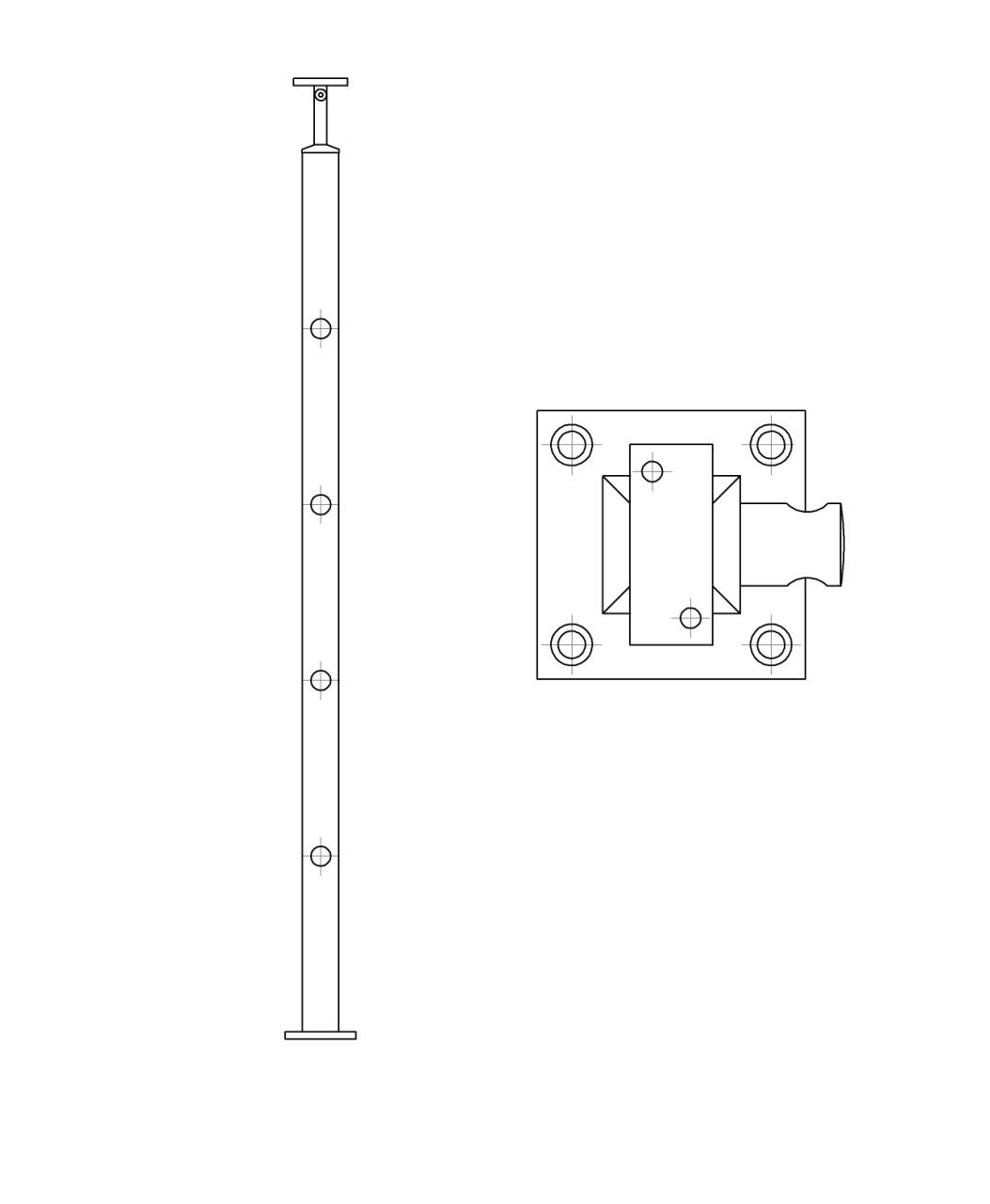 ODF-20-04-01-H1060 Стойка под ригельное наполнение с 4-мя регедержателями и квадратный поручень