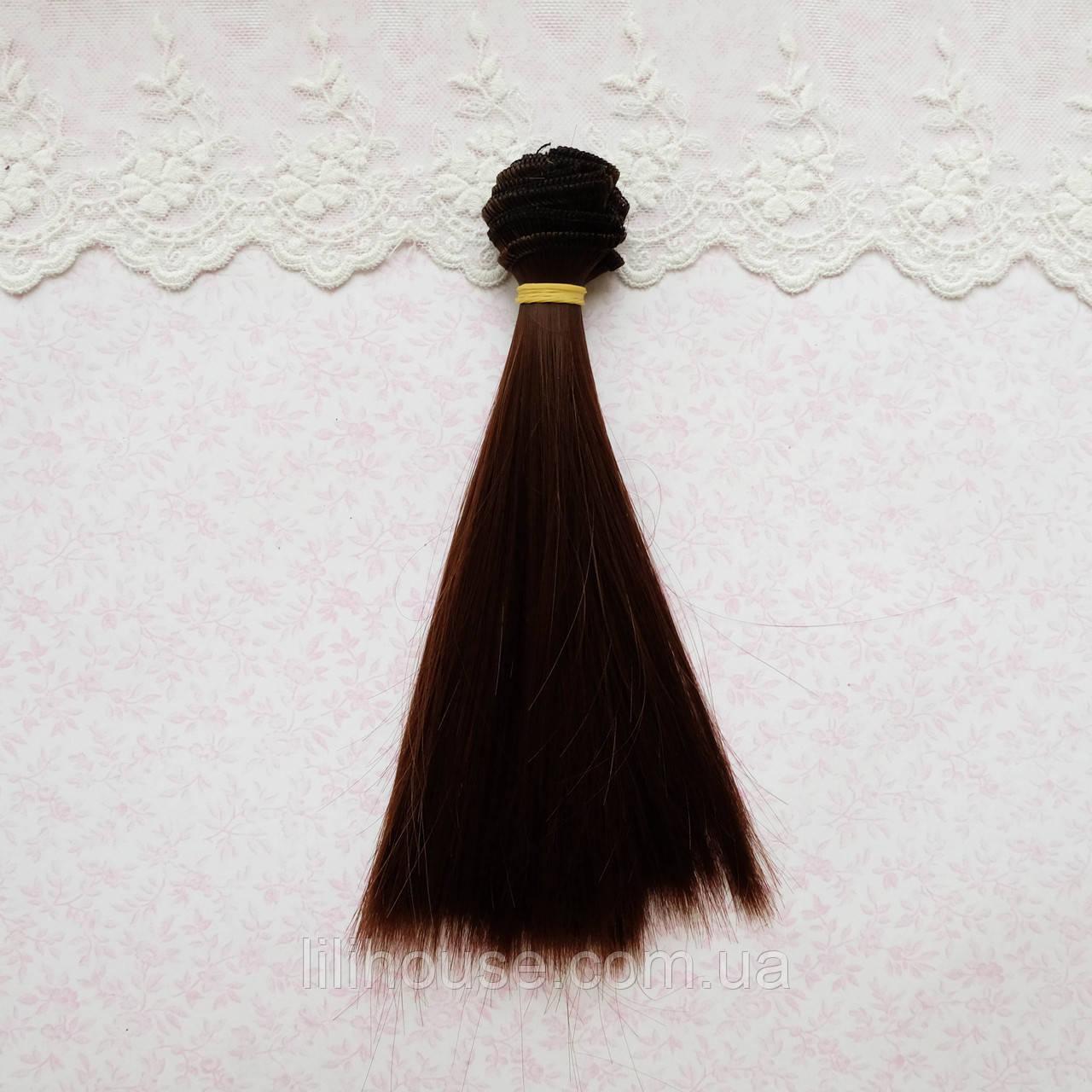 Волосы для кукол в трессах, пряный каштан шелк - 25 см
