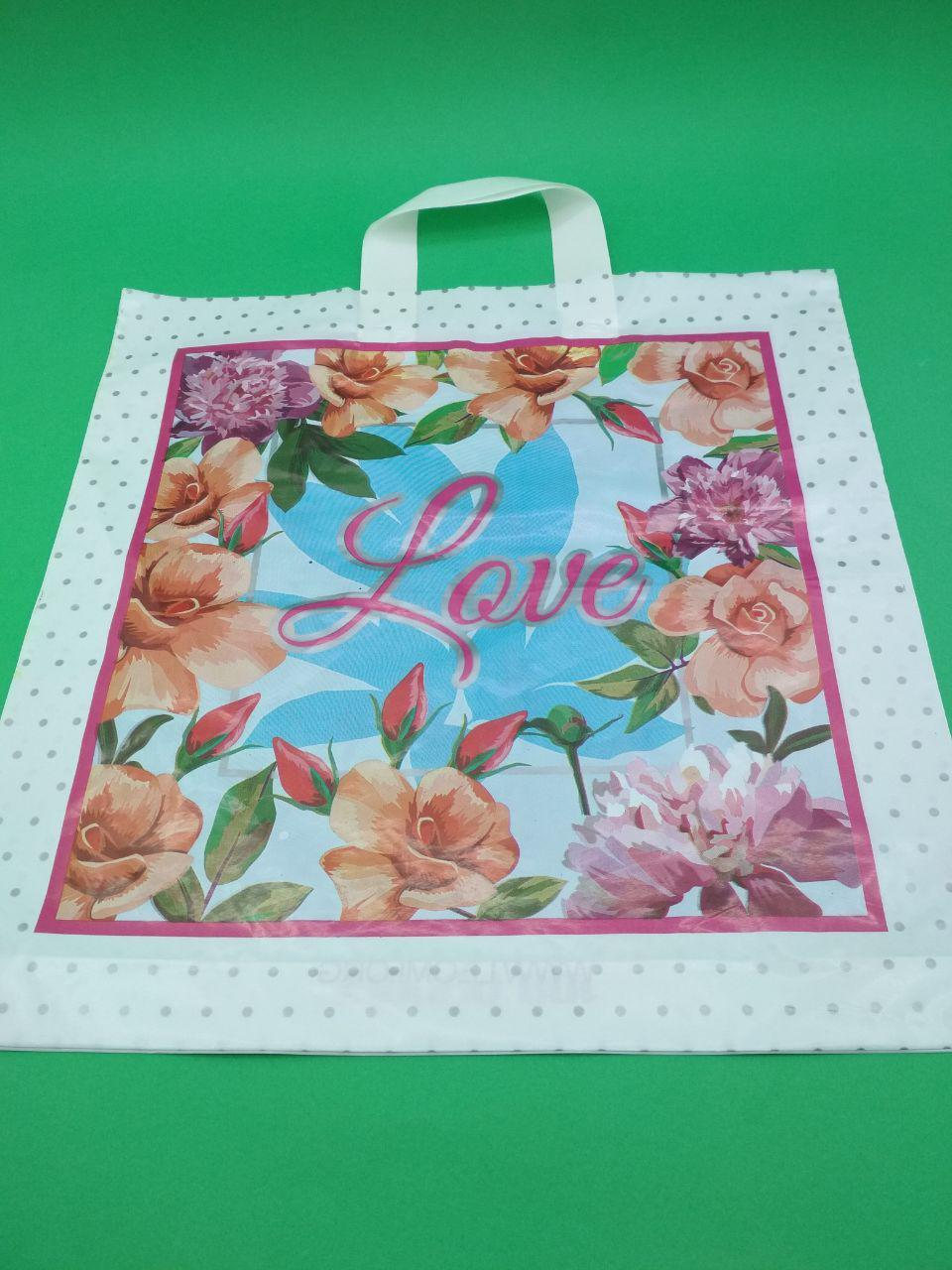 """Пакет с петлевой ручкой ср л """" Весенние цветы """" (40х42)Леони (50 шт)"""