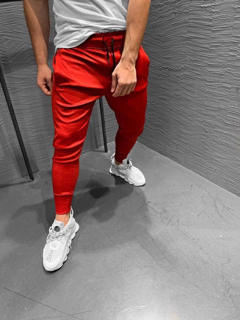 Мужские штаны на манжете красные. Живое фото