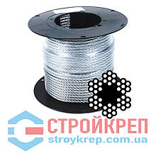 Трос оцинкованный в оболочке ПВХ, 6х7+FC, 5,0 мм, 200 м