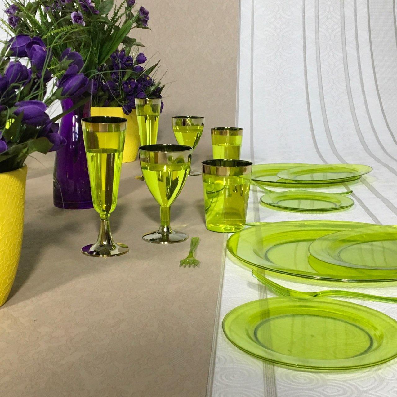 Стаканы пластиковые многоразовые цветные для свадьбы. Коллекция «Классико» CFP 6 шт 220 мл
