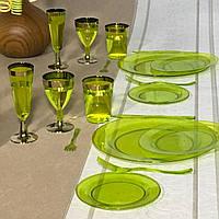 Стаканы пластиковые одноразовые для виски кристально-прозрачные для пикника, вечеринк цветные CFP 6 шт  220 мл, фото 1