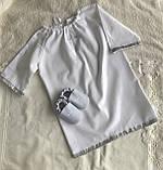 Белый с серебристым набор для крещения ( пинетки и длинная рубашка), фото 3