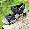 Босоножки сандалии мужские кожаные черные на липучках (7878) - чоловічі босоніжки сандалі шкіряні чорні