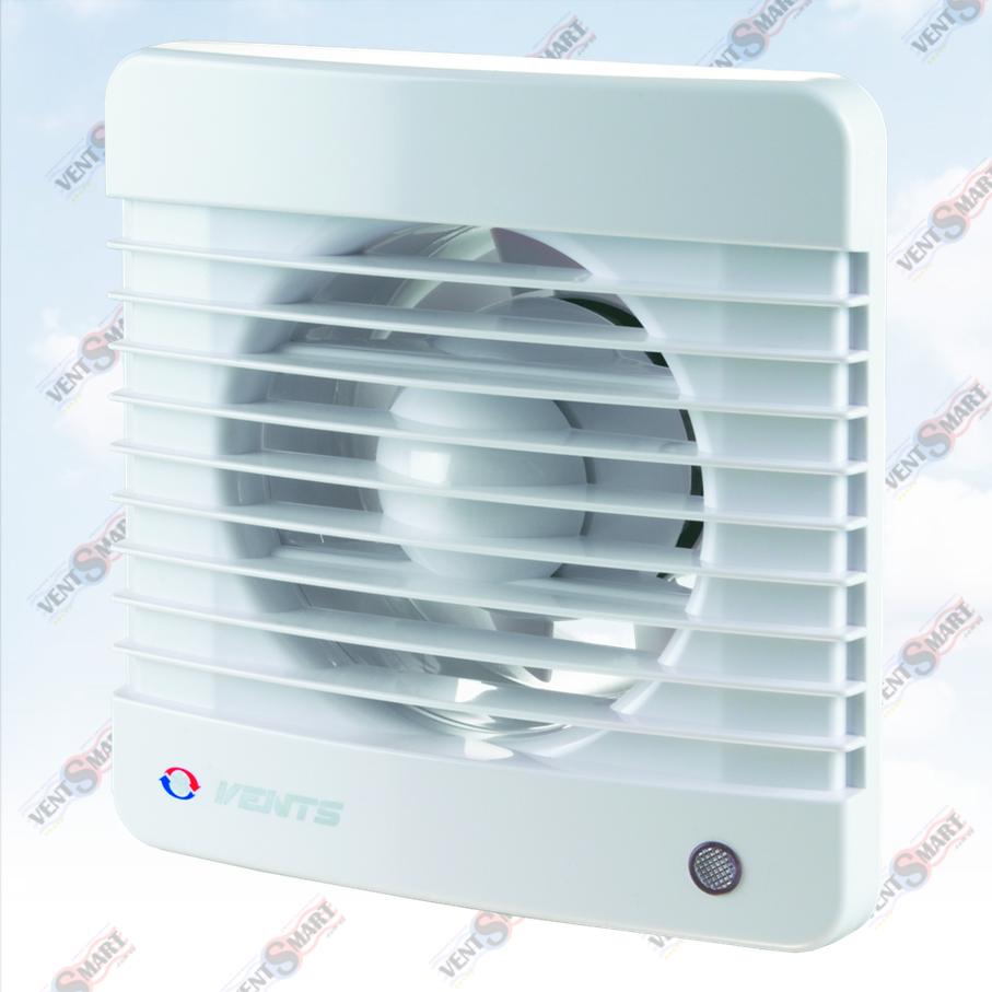 Внешний вид (фото, изображение) вентилятора для ванной Vents 100 M белого цвета. Вентилятор обладает привлекательным и современным дизайном, имеет малое энергопотребление, высокую продуктивность и низкий уровень шума. Модификации Вентс 100 М: с обратным клапаном, с двигателем на подшипниках, со шнурком, с реле времени, с реле влажности, датчиком движения.