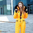 Женский неоновый зимний горнолыжный комбинезон с меховой опушкой 31gk32, фото 2