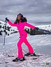 Женский неоновый зимний горнолыжный комбинезон с меховой опушкой 31gk32, фото 5