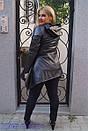 Удлиненная женская кожаная куртка в больших размерах с асимметрией 10ba2091, фото 2